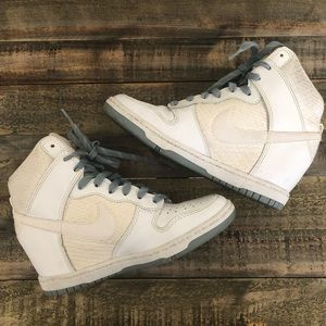 NIKE | White Leather DUNK Sky High Shoes - 6